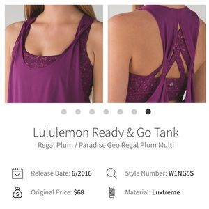 Lululemon Ready & Go Tank New Condition